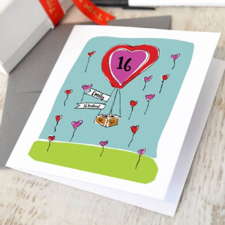 Personalised Any Age Heart Balloon Card